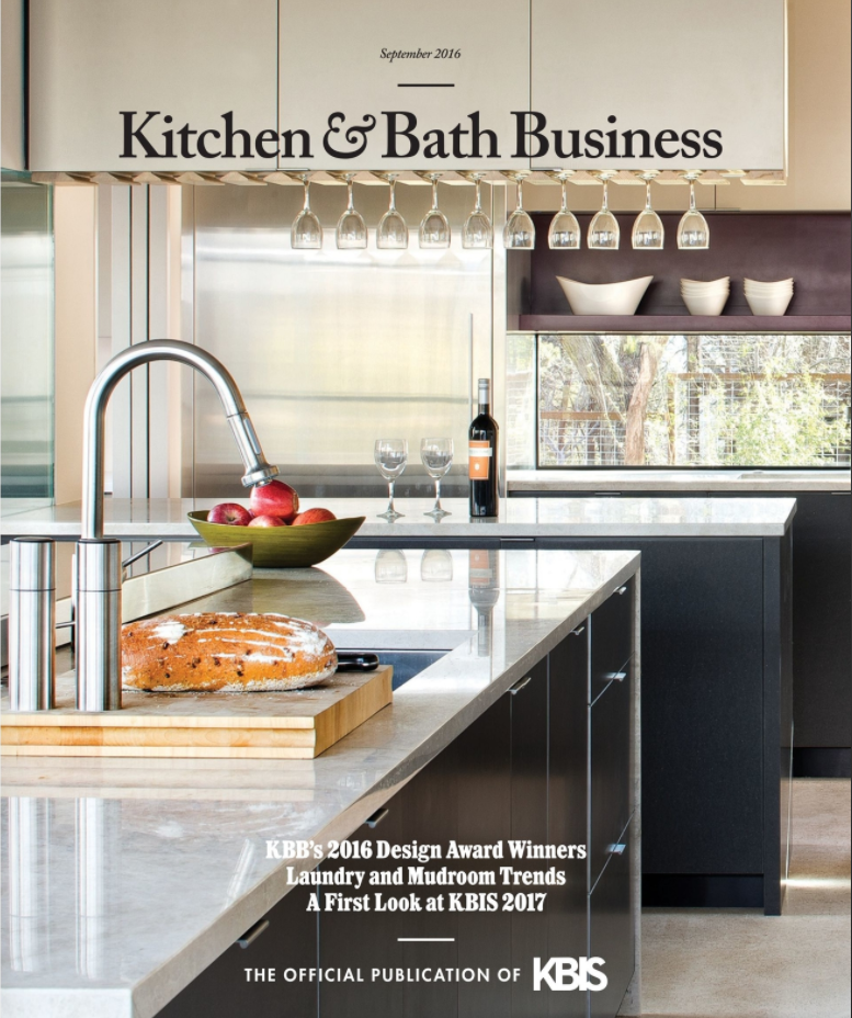 Kitchen & Bath Business, Sept 2016 Article on the 2016 Bathroom of the Year winning bath designed by NEXT Project Studio.  I designed, fabricated and  installed the ceiling hung, double-sided chrome mirror for the space.