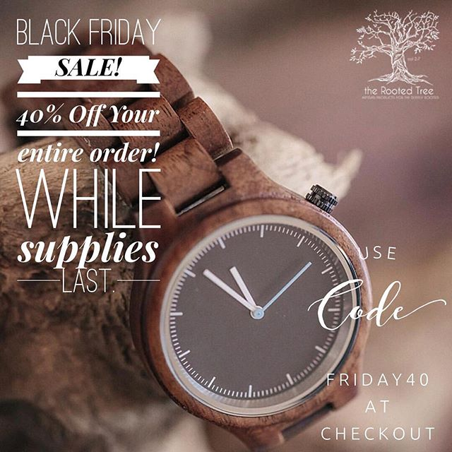 Black Friday sale. While supplies last! Use code FRIDAY40 at checkout. Starts at midnight!  @therootedtreeshop #therootedtree #Bedeeplyrooted #truth #intentionalliving #smallbusiness #groomsmengift #groomsgift #weddinggift #menswatch #guygift #woodwatch #woodglasses #leatherjournal #adventure #leathercuff #leatherbracelet #wanderlust #woodburnedart #socialgood #watchesofinstagram #uniquewatch #coolgift #hipster #minimalist #leathergoods #handcrafted #hipsterfashion #industrialpipe #beardman #beardsofinstagram