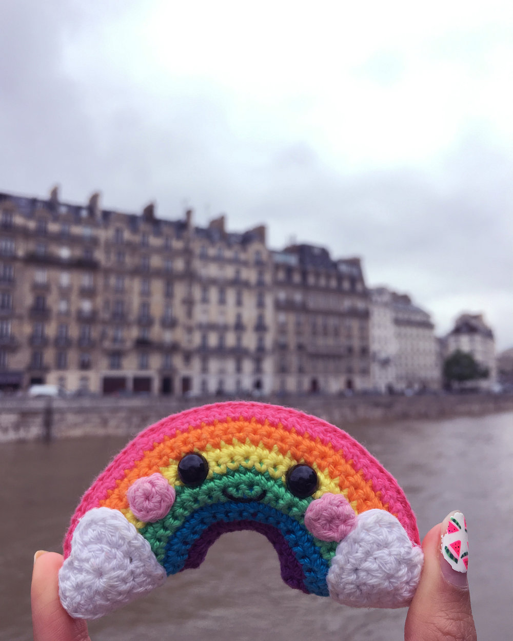 Bring a rainbow wherever you go. It lit up my day even with the worst Parisian flood in 2016 :)
