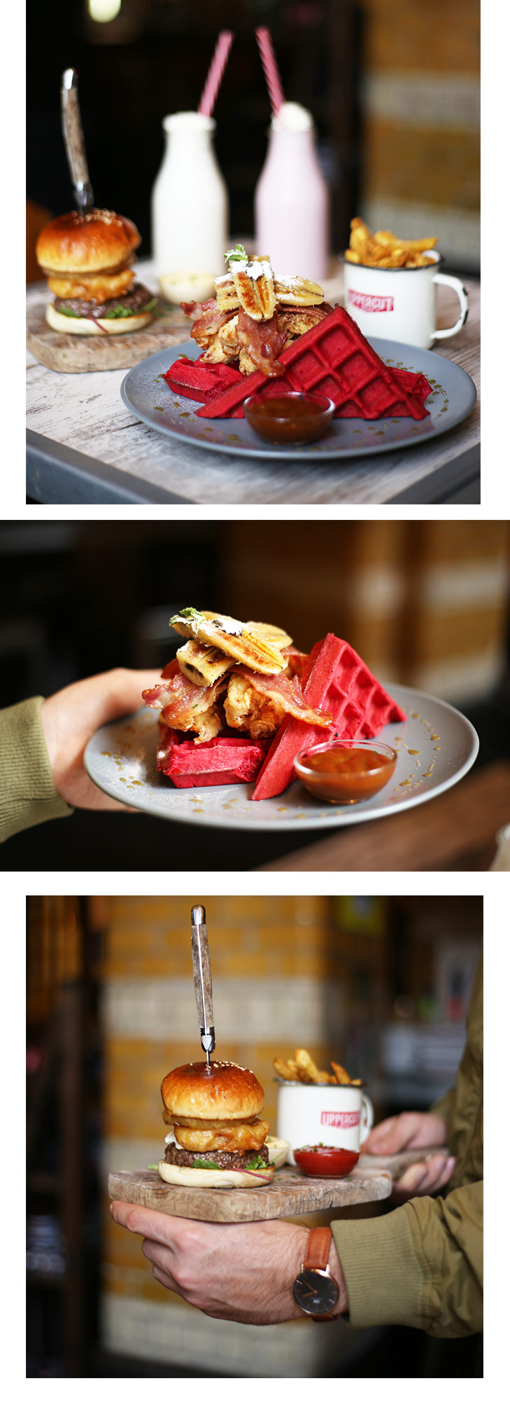 Oh those mouth-watering Chicken 'n Red Velvet Waffles with Surf 'n Turf Burger. Photo by May Leong.