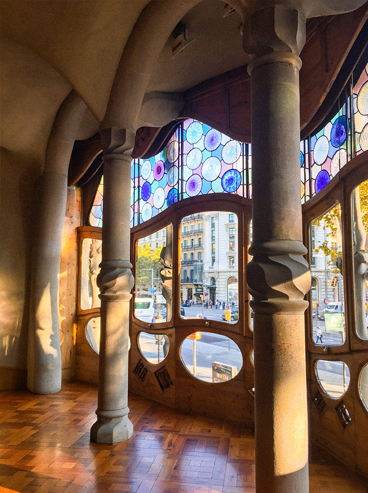 The huge windows in the main suite of Casa Batlló. Photo by May Leong.