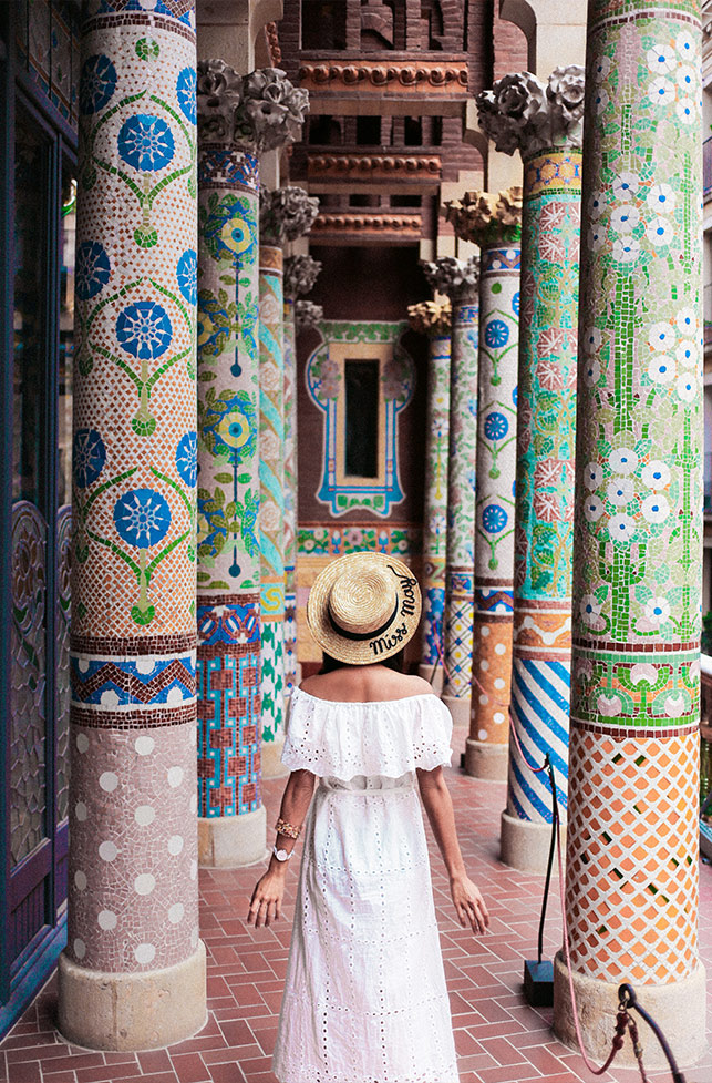 Palau de la Música Catalana is a must visit for it's pretty mosaic pillars.