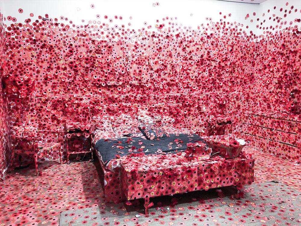 Beautiful bedroom of Yayoi Kusuma's exhibition. Photo by May Leong.