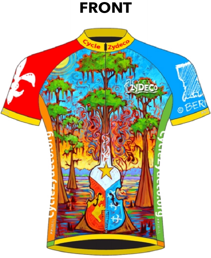 Cycle Zydeco 2017 jersey designed by artist Tony Bernard.
