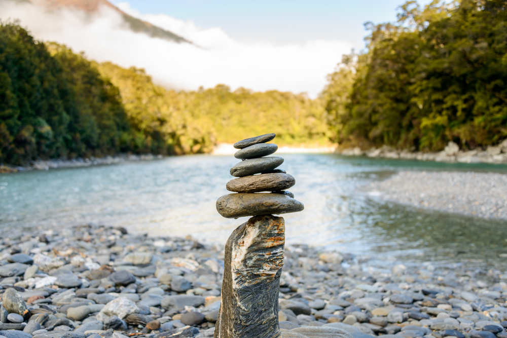 Balanced Cairns, Blue pools, Makarora River