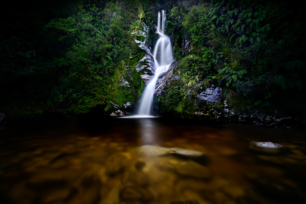 """Falling for Dorothy"" Dorothy Falls, Lake Kaniere, West Coast, New Zealand D800, ISO100, 30sec, f7.1, 17mm, Lee Little Stopper ND Filter and Circular Polarising filter"