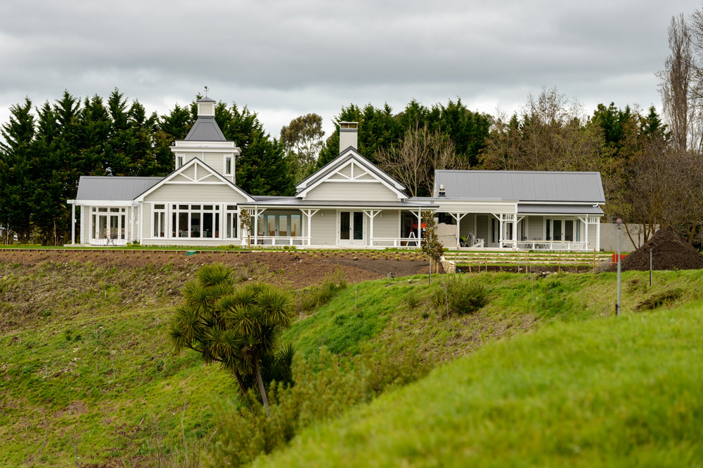 The house is designed to look like a farm house that has grown over time.  The left end in this shot is the kitchen and main bedroom, the middle is the living area and the right end houses the guest bedrooms.