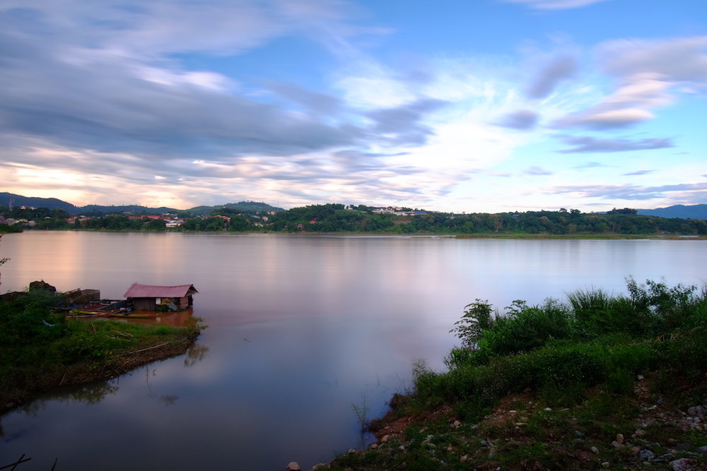 Mekong Sunset, looking across to Laos