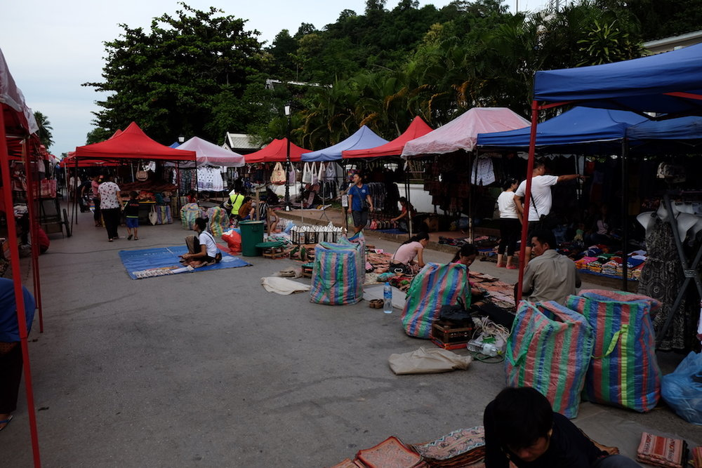 Luang Prabang Night Market setting up