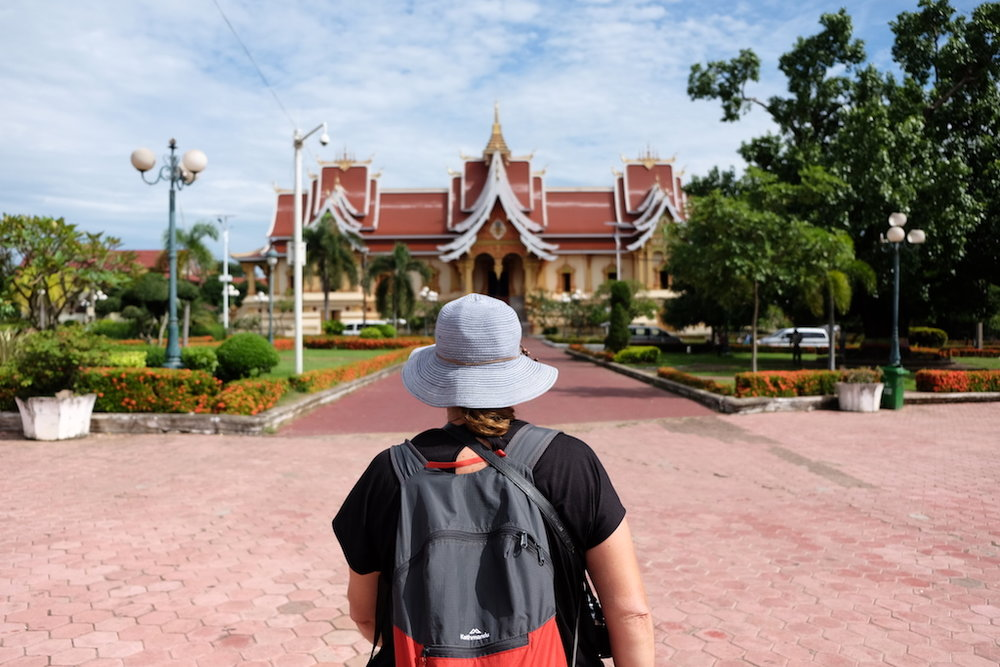 Lady in the Blue Hat at Pha That Luang