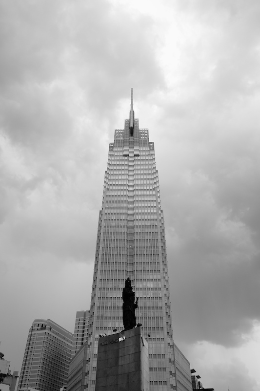 Tran Hung Dao statue and Vietcombank Tower