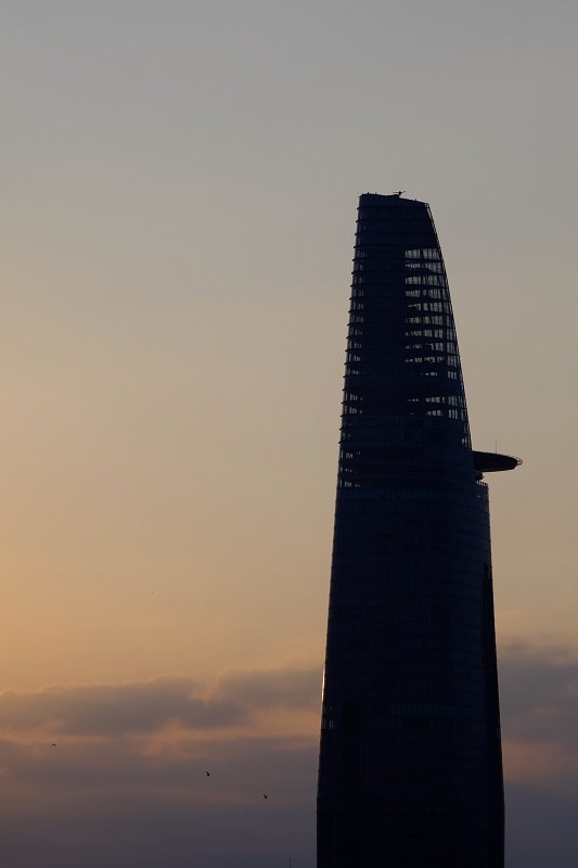 Bitexco Tower from our hotel at sunrise