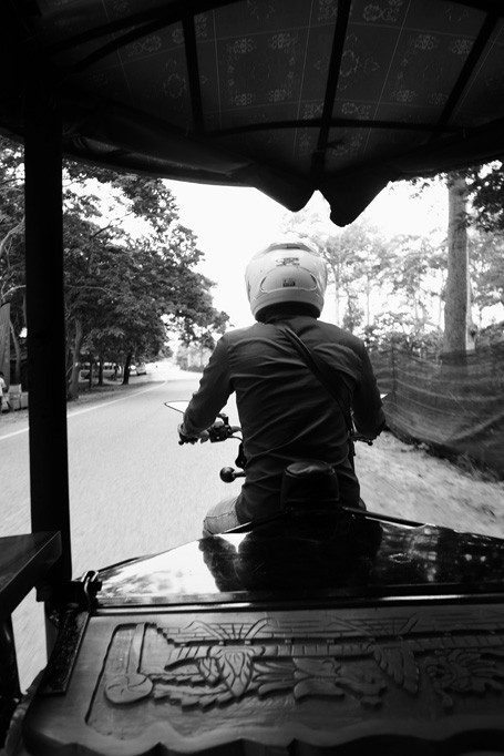 Day 1: Our view of Dom the tuk tuk driver