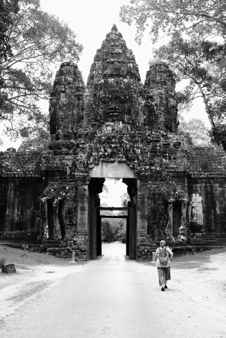 Day 3: Liz at the East / Victory Gate, Angkor Thom