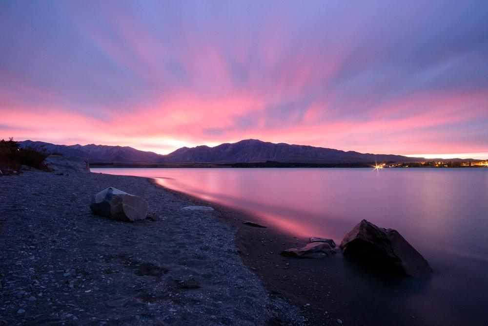 Signs of colour 1 hour before sunrise, Lake Tekapo