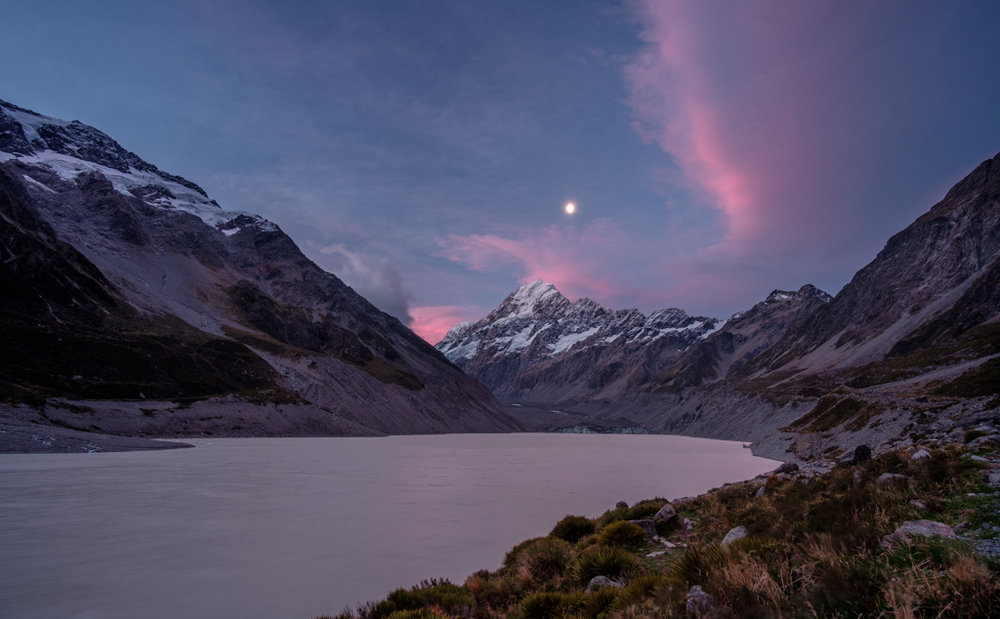 The Norwest Arch clouds over Mt Cook from Hooker Lake