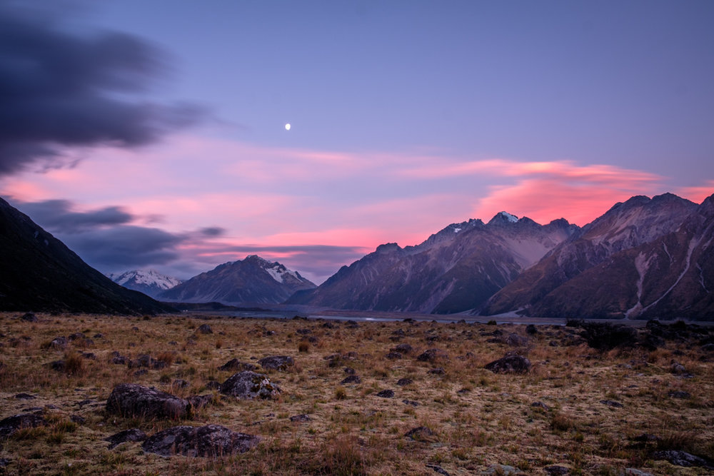 Tasman Valley with Moon