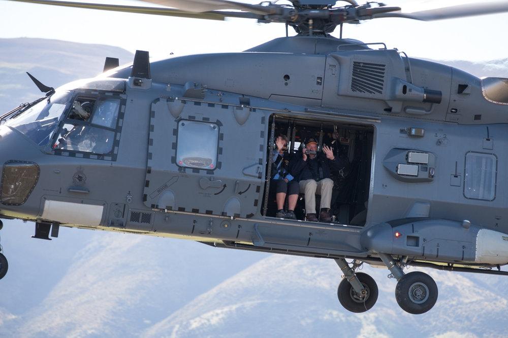 Sir Tim and George Wallis on board the NH90
