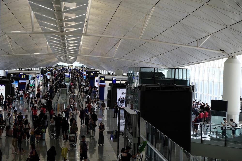 The cavernous Hong Kong Airport building