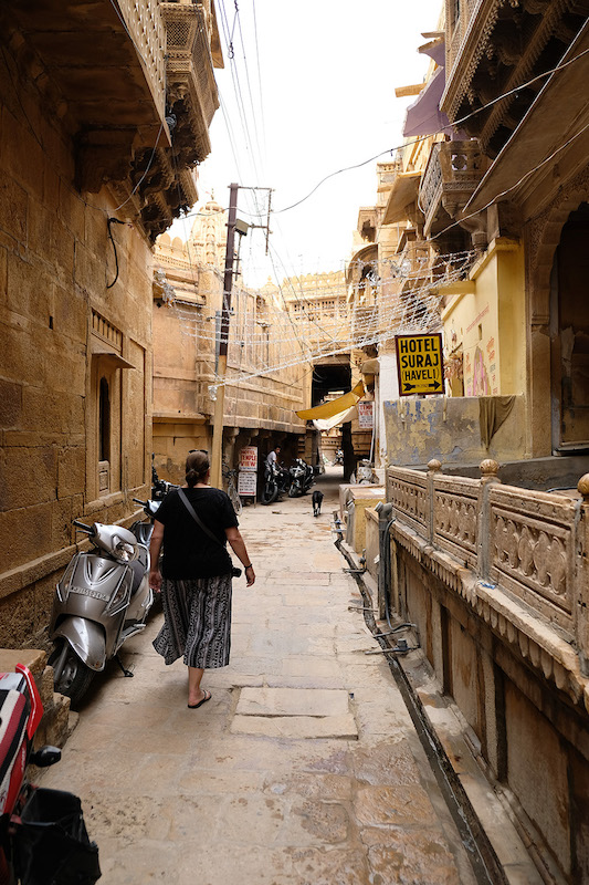 Liz walking the streets, Jaisalmer