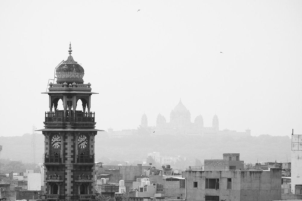 Clock Tower and Umaid Bhawan Palace from Geeta Mahal breakfast 'room'