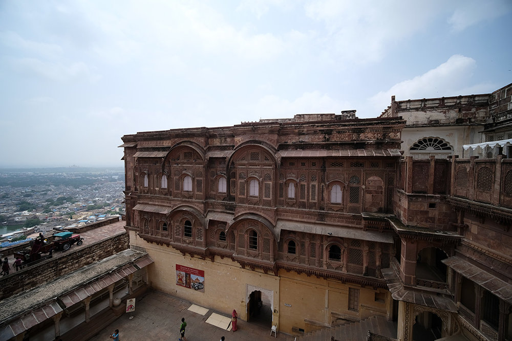 The view from the roof of the Palace and Jodhpur, and a Massey Ferguson tractor