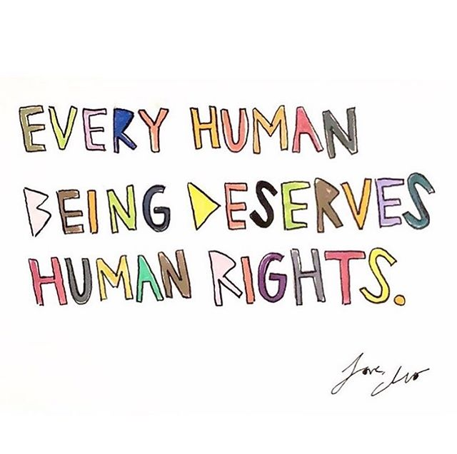 """""""As defined by The United Nations: 'Human rights are rights inherent to all human beings, regardless of race, sex, nationality, ethnicity, language, religion, or any other status. Human rights include the right to life and liberty, freedom from slavery and torture, freedom of opinion and expression, the right to work and education, and many more. Everyone is entitled to these rights, without discrimination.' The human beings legally seeking asylum at our border are human beings. Their bones break the same way our children's bones break. Their blood bleeds red the way ours does. Their eyes cry salty tears like ours. Every single human being deserves respect, dignity, compassion, empathy, and safety. It is very dangerous when we live in a headspace and heart-space that does not acknowledge these divine truths. I love you. I love them. Let us all love our neighbors."""" @cleowade"""