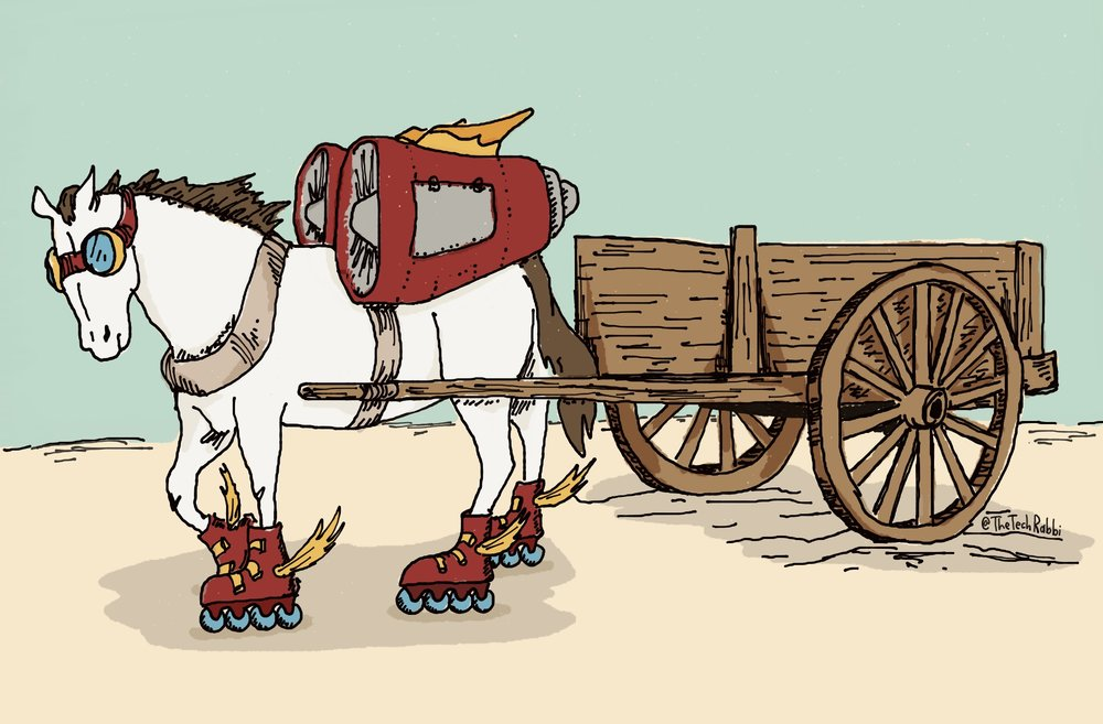 Check out Seymour Papart's book Mindstorms that uses a similar horse/carriage and jet engine analogy to technology.