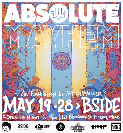 ABSOLUTE MAYHEMMitch Walder - Absolute Mayhem is the third solo exhibition by Melbourne based artist Mitch Walder.Opening at BSIDE Gallery on Friday May 19th 2017, the show revolves around an intense centrepiece that consists of 29 individual artworks and stands at 3 metres. The works are displayed side by side creating an overall scene of chaos that structures around a central - unarticulated by outline - area that assumes a path to a white unknown. Thematic tendencies in palette & layout bring this painterly mess into a somewhat ordered chaos.Absolute Mayhem runs from 19-28 May, join us on Friday the 19th from 6-9pm for opening night drinks, supported by Young Henrys and 42 Below.