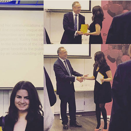Kailey receives Public Engagement Award from UCL President and Provost Michael Arthur.