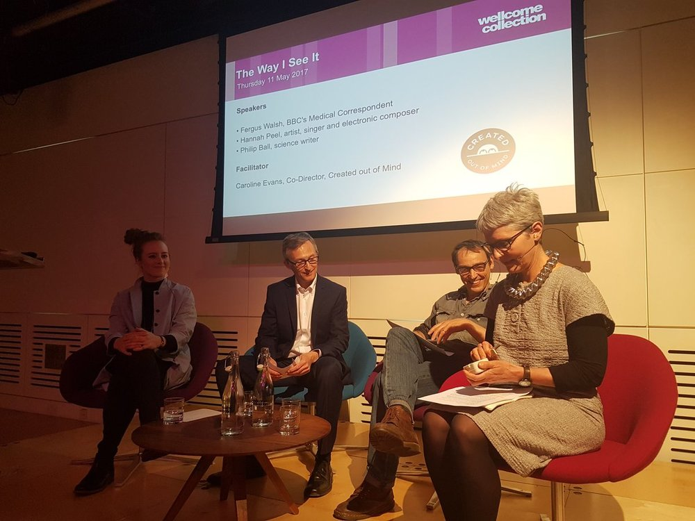 The Panel leading 'The way I see it', a Created Out of Mind discussion event at Wellcome Collection. Pictured (l-r): Hannah Peel, Fergus Walsh, Philip Ball and Caroline Evans