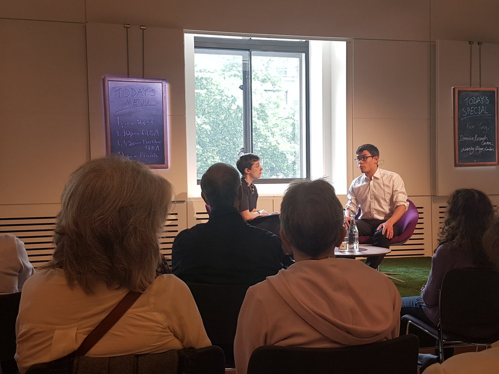 Keir Yong talks with the public at the Wellcome Packed Lunch event 'Dementias and vision'.