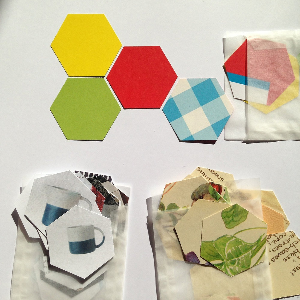 A few mini hexagons used in the Storycomb workshop I ran for the  Westminster Arts'  Creative Befrienders, hosted by  Created Out of Mind .