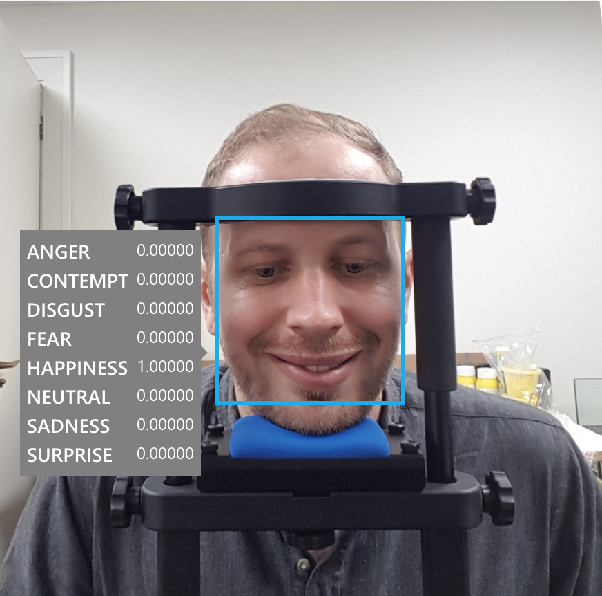 Me in the eye-tracker listening to a song that I like - emotion prediction results overlaid, courtesy of Microsoft Azure.