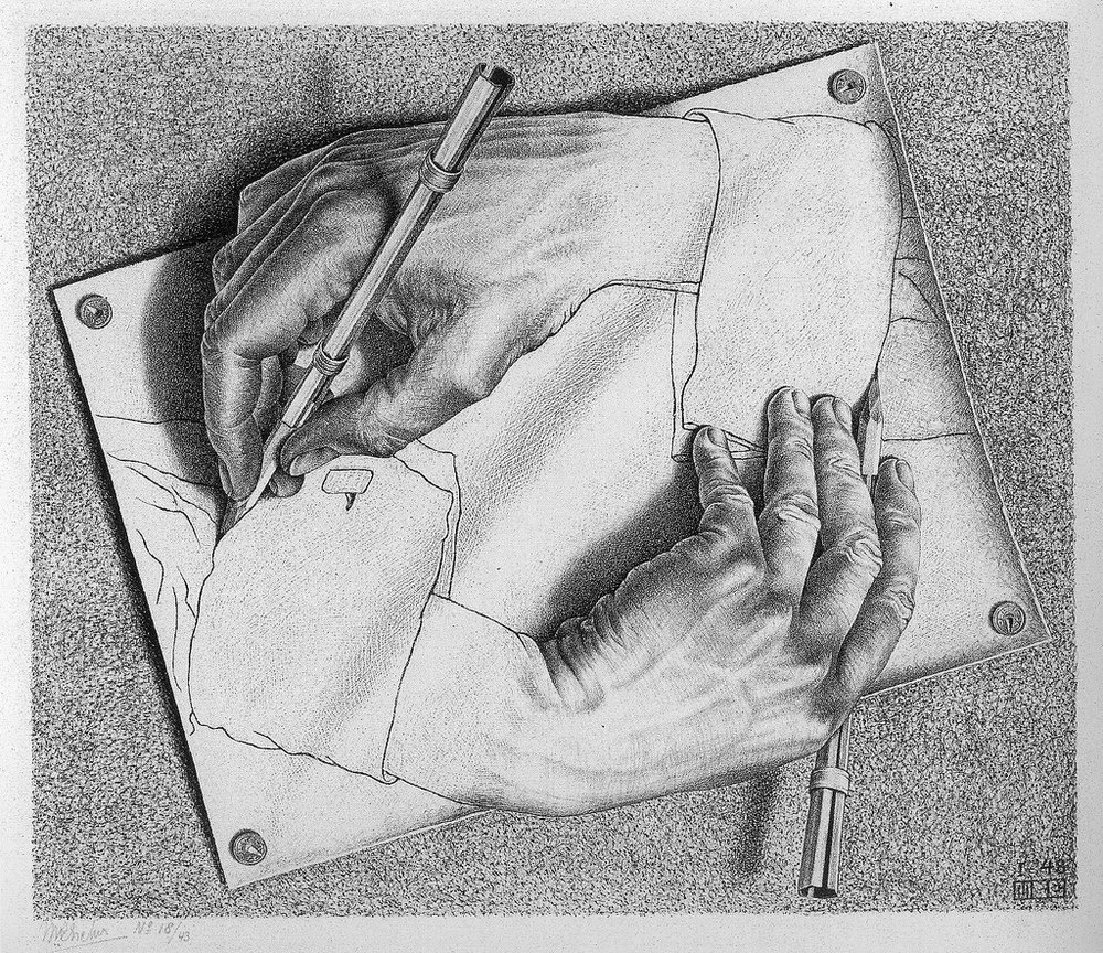 'Drawing Hands', Painting by Maurits Cornelis Escher, January 1948