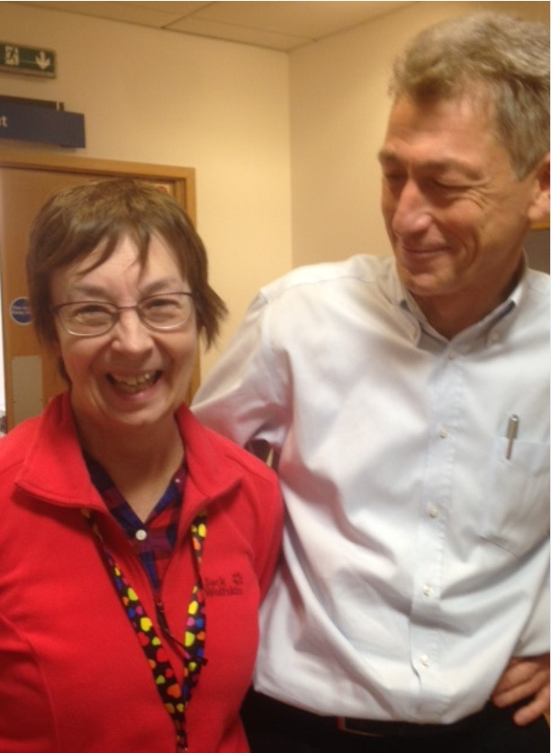 Carol Jennings with Nick Fox, Director of the Dementia Research Centre. Image supplied by Stuart Jennings