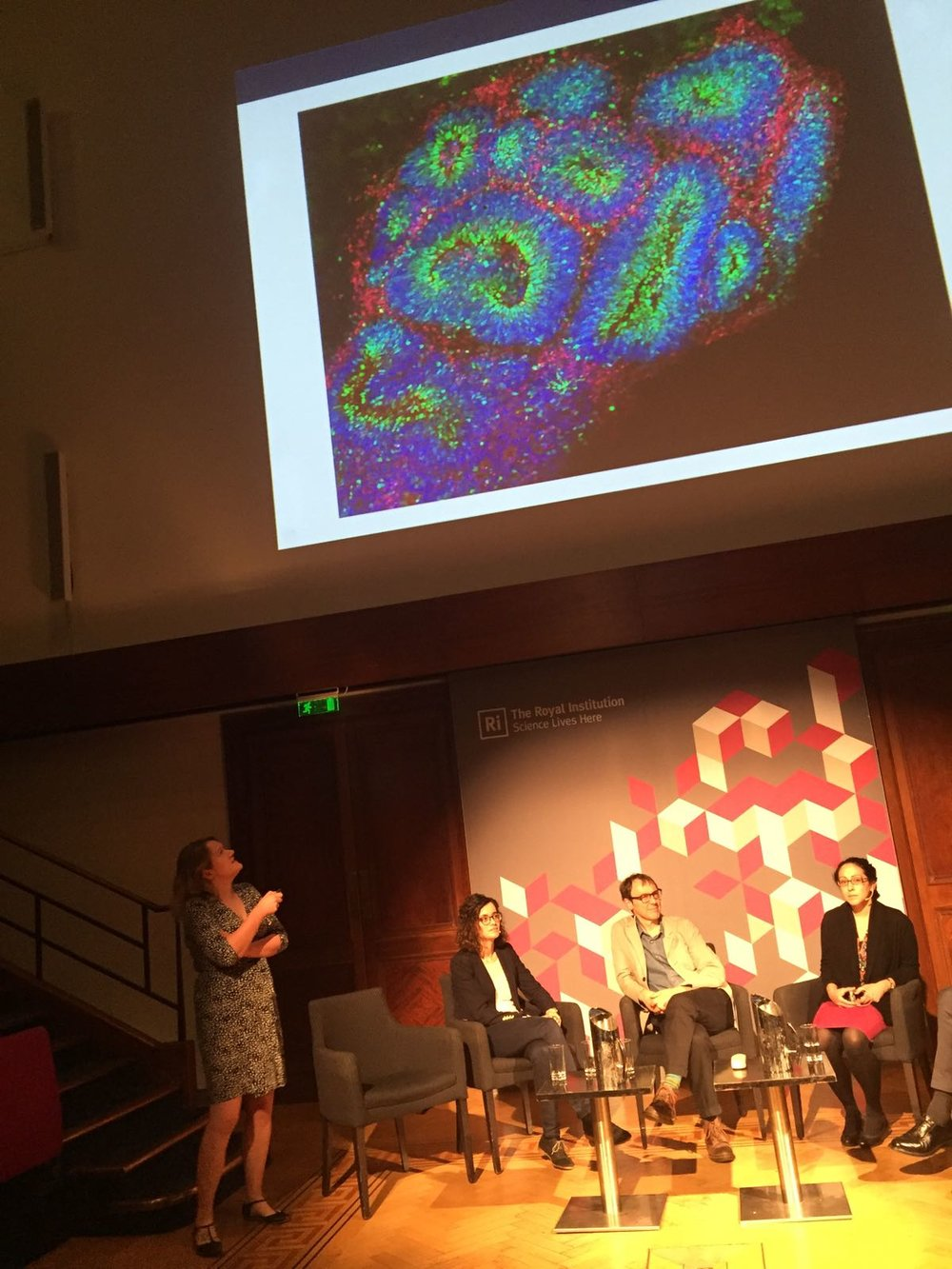 Selina Wray speaks as part of the 'Making Monsters' panel at The Royal Institution. Brain organoid image: Chris Lovejoy/UCL