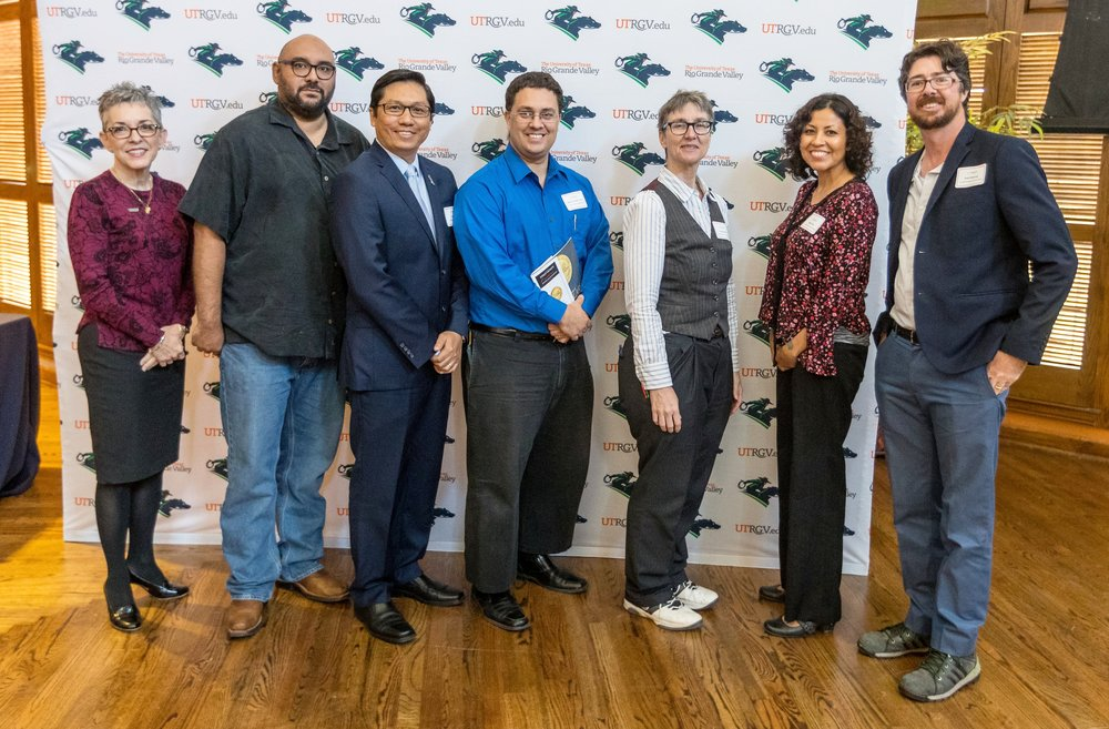 Among faculty members who published books in 2016 are, left to right, Dr. Patricia Alvarez McHatton, Dr. Christopher Carmona, Dr. Dean Kyne, Dr. Gabriel Gonzalez Nuñez, Dr. Jean Braithwaite, Dr. Emmy Pérez and Dr. Britt Haraway. Faculty were recognized for their exceptional efforts during the annual Faculty Excellence Awards ceremony on May 4, 2017, held in PlainsCapital Bank El Gran Salón. (UTRGV Photo by David Pike)