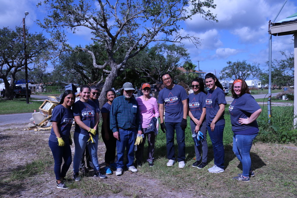 Dr. Dean Kyne and Students and Hurricane Harvey Disaster Victims.JPG