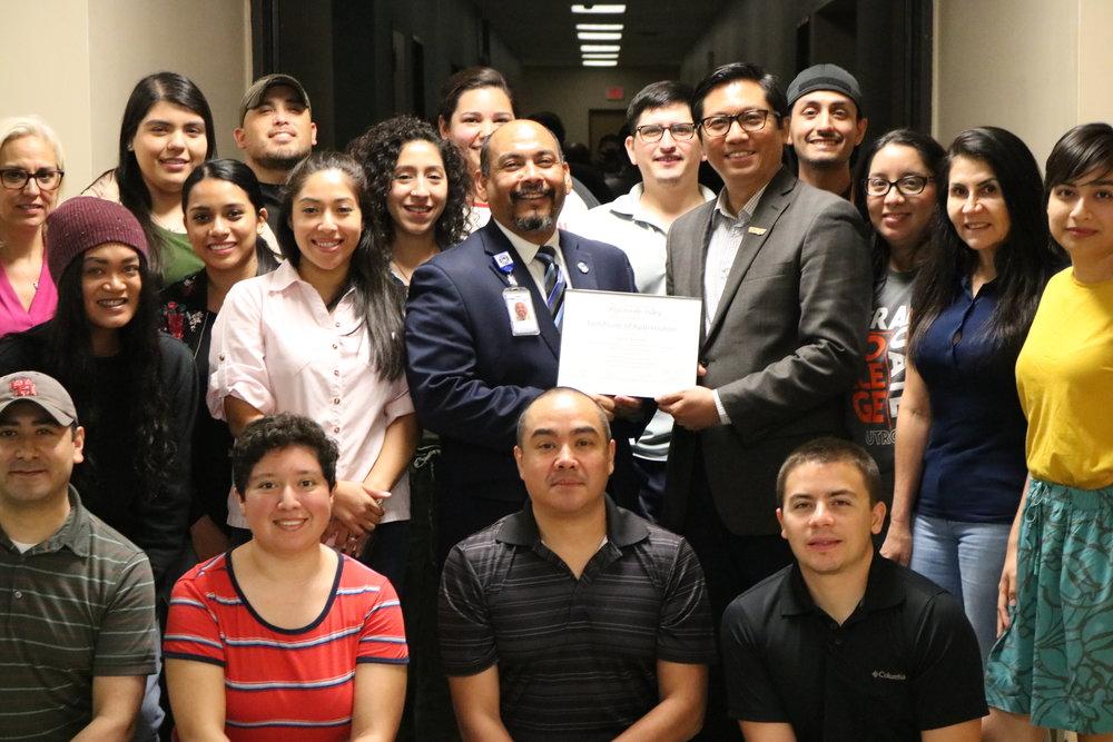 Danny Ramirez, Dean Kyne, and Graduate Students UTRGV 09042018.JPG