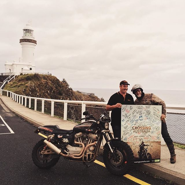 We made it!! Shark Bay to Byron Bay on a Harley-Davidson motorcycle. Join us today at the finish line to celebrate and meet the team. 2pm @thefarmatbyronbay #stevegrace #crossingaustralia #ridingforacause #harleydavidson #xr1200 #byron #lighthouse #byronbay #historymaker