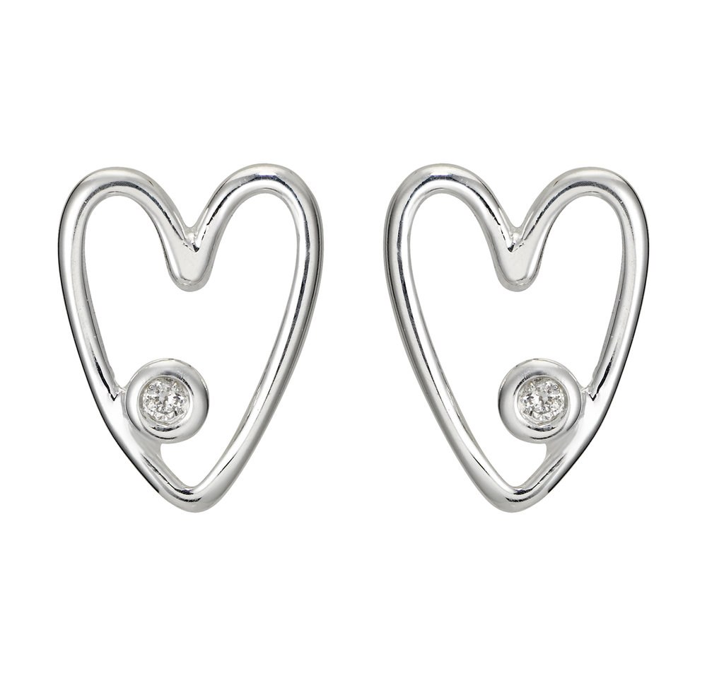My First Heart Diamond Studs