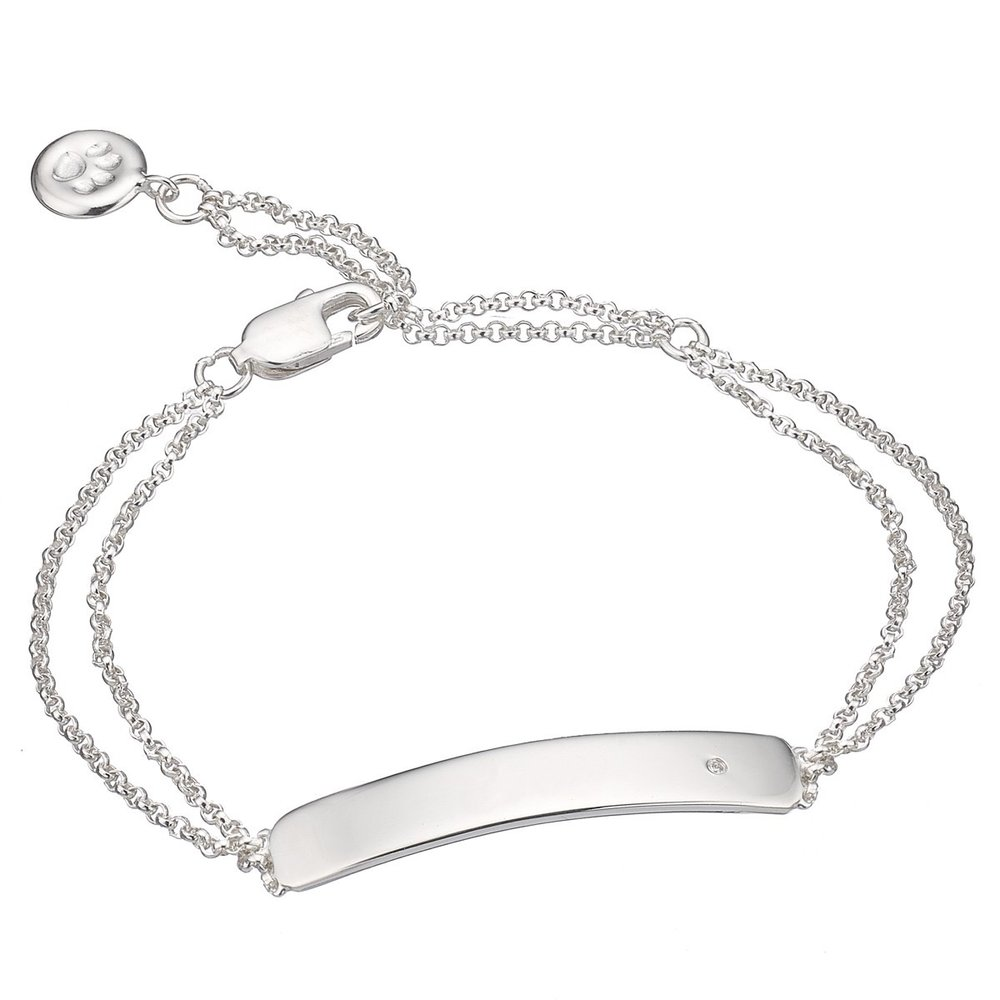 Silver and Diamond ID Bracelet