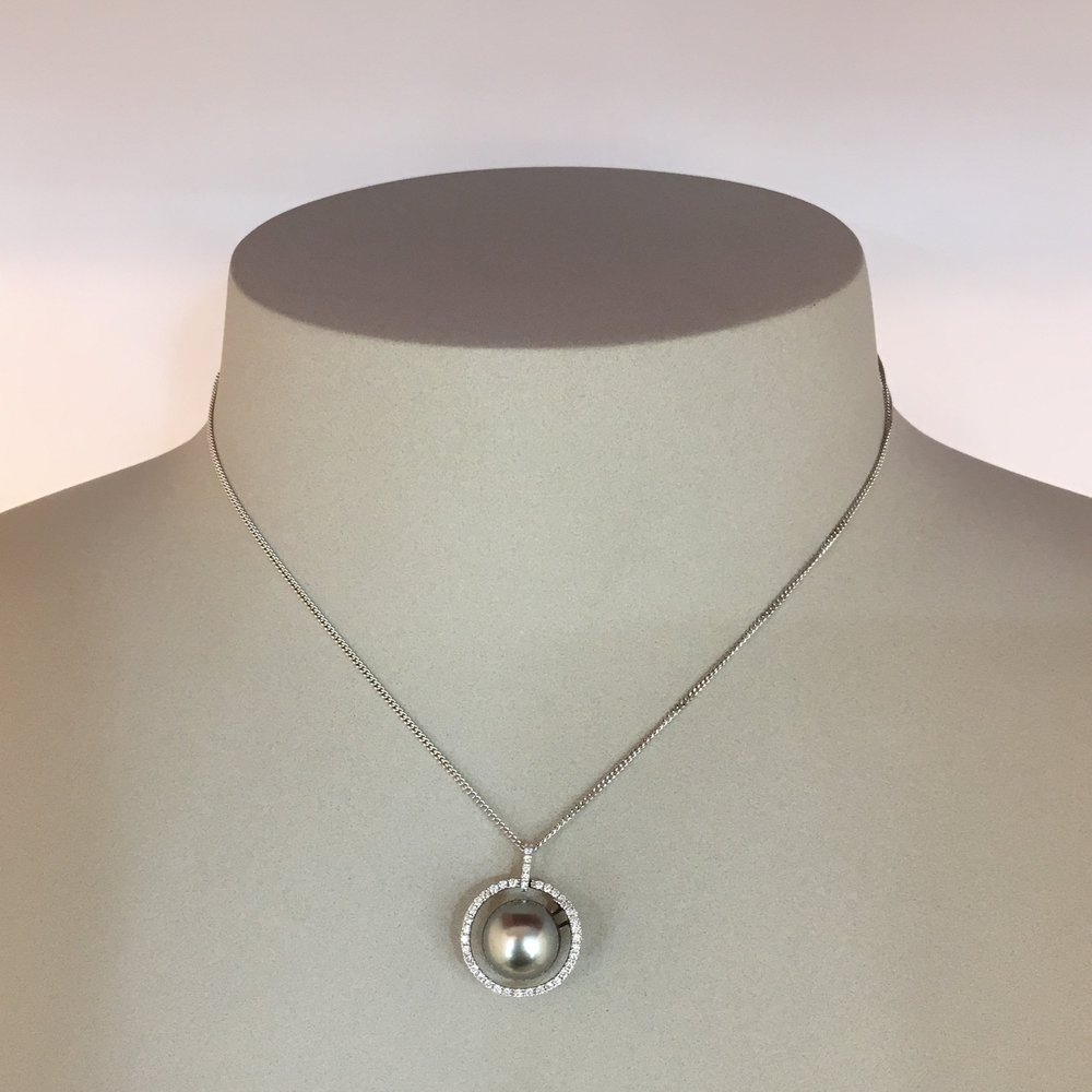 19ct White Gold Diamond Set Tahitian Pearl Pendant & ChainPendant