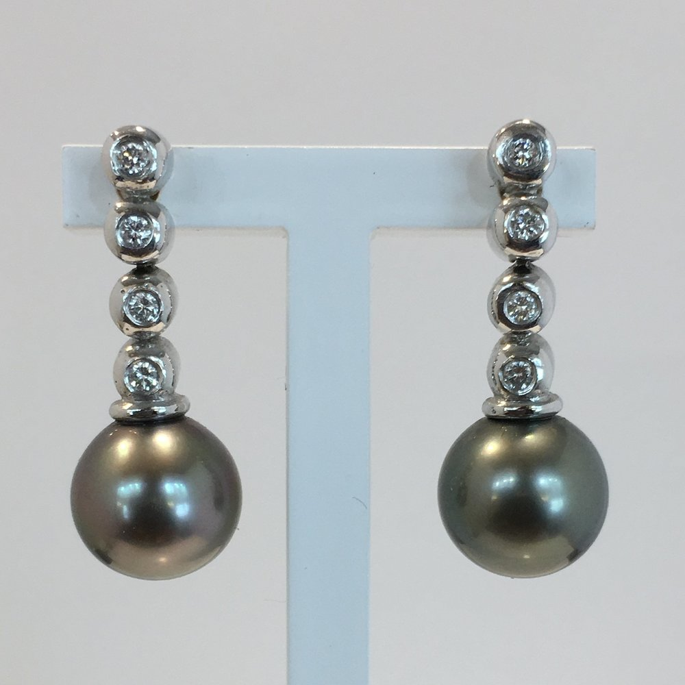 18ct White Gold Diamond & Tahitian Pearl Drop Earrings
