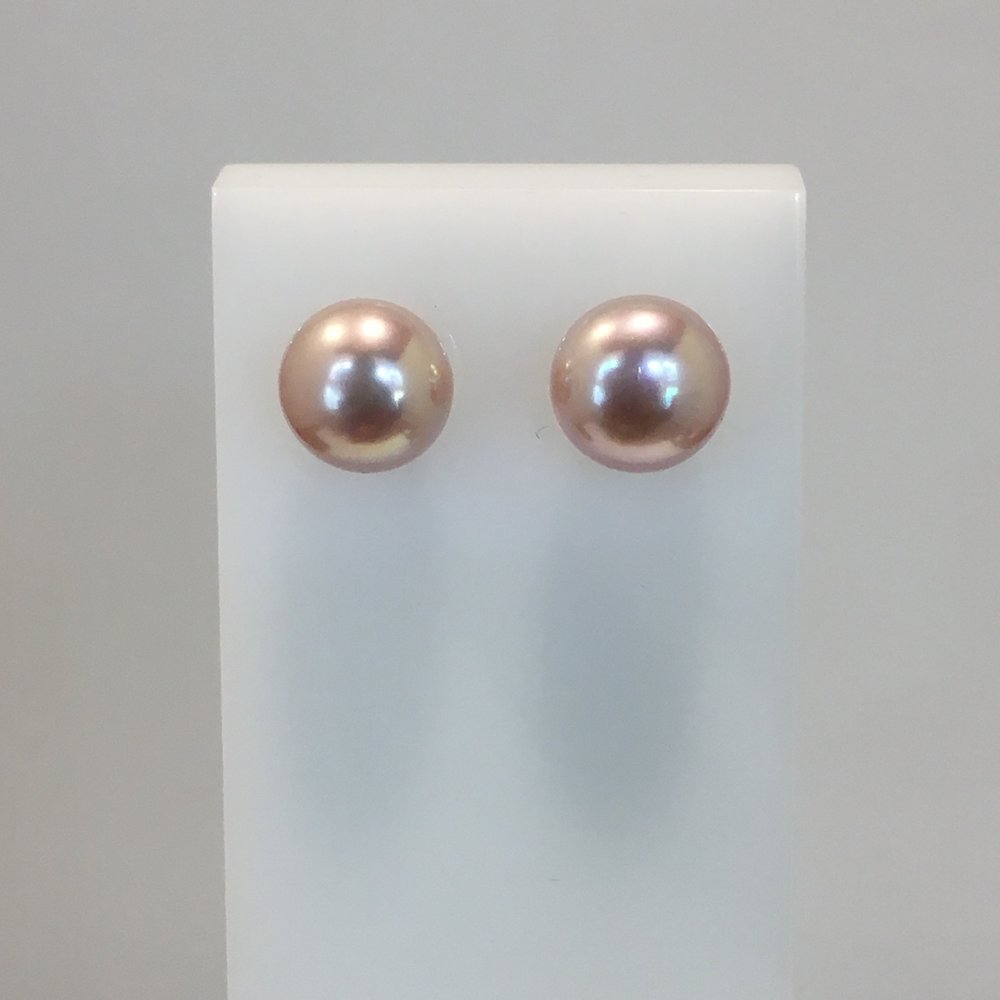 14cr White Gold Pink Pearl Studs
