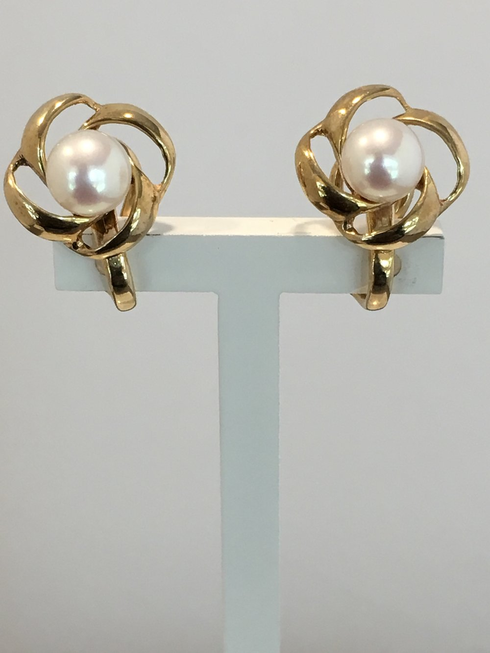 9ct Yellow Gold Clip-on Pearl Earrings