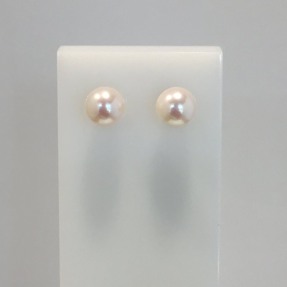 9ct Yellow Gold 6.6mm Akoya Pearl Studs