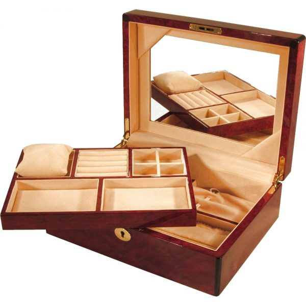 Laminated Makah Burl Jewellery Box with Tray