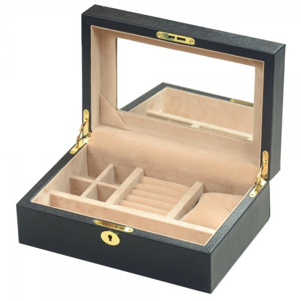 Genuine Full Hide Black Leather Jewellery Box with Lock